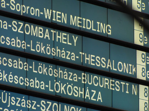 Departures board, showing a train to Thessaloniki