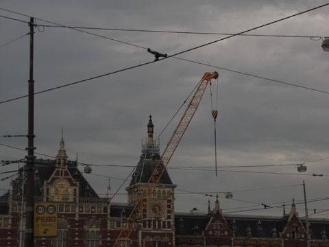 Amsterdam station with cranes