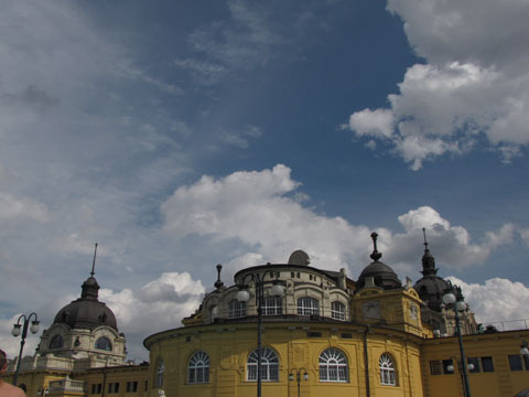 The Szechenyi baths rooftops in sunshine